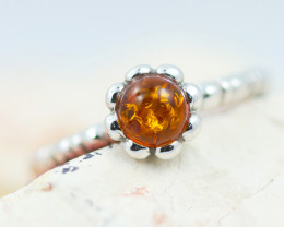Baltic Amber Ring  Cute round amber ,direct from Poland AM1371