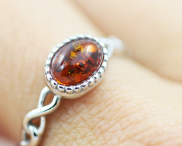 Baltic Amber Ring  Cute oval amber ,direct from Poland AM1377