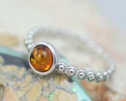Baltic Amber Ring  Cute round amber ,direct from Poland AM1376