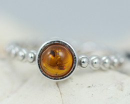 Baltic Amber Ring  Cute round amber ,direct from Poland AM1384