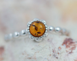 Baltic Amber Ring  Cute round amber ,direct from Poland AM1392