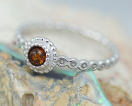 Baltic Amber Ring  Cute round amber ,direct from Poland AM1401