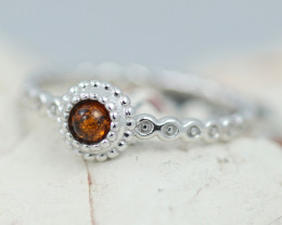 Baltic Amber Ring  Cute round amber ,direct from Poland AM1402
