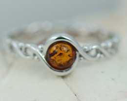 Baltic Amber Ring size 7   round amber ,direct from Poland AM1412