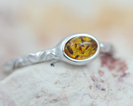 Baltic Amber Ring  round amber ,direct from Poland AM1419
