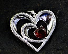 Stunning Genuine Red Garnet Pendant In Silver