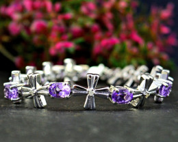 Stunning Genuine Purple Amethyst Bracelet In Silver