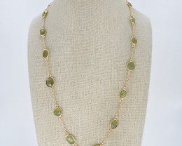 GREEN SAPPHIRE NECKLACE NATURAL GEM 925 STERLING SILVER JN188