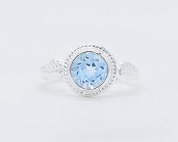 BLUE TOPAZ RING 925 STERLING SILVER NATURAL GEMSTONE JR377