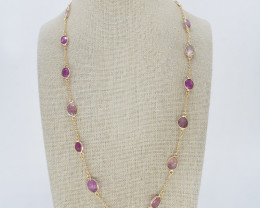 PINK SAPPHIRE NECKLACE NATURAL GEM 925 STERLING SILVER JN183