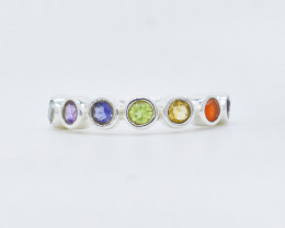 MULTI RING 925 STERLING SILVER NATURAL GEMSTONE JR389