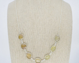 YELLOW SAPPHIRE NECKLACE NATURAL GEM 925 STERLING SILVER JN154