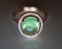 Prehnite 6.42ct Rose Gold Finish Solid 925 Sterling Silver Ring Size 7