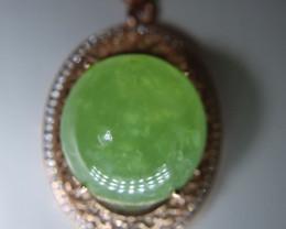 Prehnite 48.15ct Rose Gold Finish Solid 925 Sterling Silver Pendant, Natura