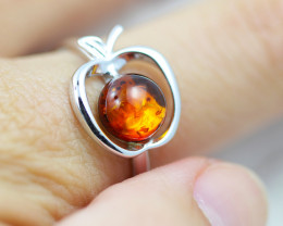 Baltic Amber Ring r amber Apple  ,direct from Poland AM1423