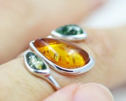 Baltic Amber Ring   amber Multi Tri ,direct from Poland RN 159
