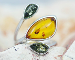 Baltic Amber Ring   amber Multi Tri ,direct from Poland AM1432