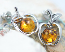 Baltic Amber Apple  Earrings ,direct from Poland AM1455