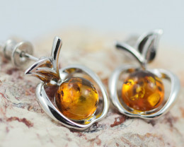 Baltic Amber Apple  Earrings ,direct from Poland AM1456