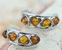 Baltic Amber Heart  Curve Earrings ,direct from Poland AM1458