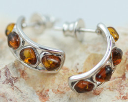 Baltic Amber Heart  Curve Earrings ,direct from Poland AM1459