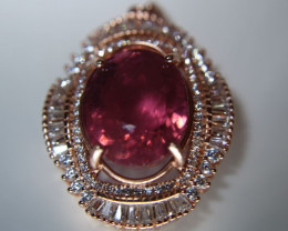 Rubellite 14.15ct Rose Gold Finish Solid 925 Sterling Silver Pendant, Natur