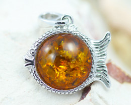 Baltic Amber Fish Pendant  ,direct from Poland AM1478