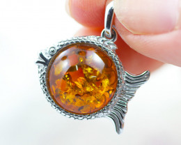 Baltic Amber Fish Pendant  ,direct from Poland AM147