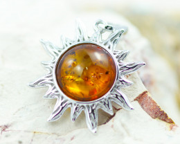 Baltic Amber Happy Sun Pendant  ,direct from Poland AM1484