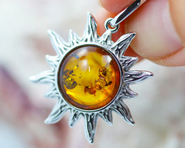 Baltic Amber Happy Sun Pendant  ,direct from Poland AM1486