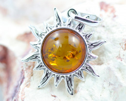 Baltic Amber Happy Sun Pendant  ,direct from Poland AM1487