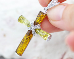 Baltic Amber Dual Tone Cross Pendant  ,direct from Poland AM1490