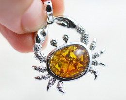Baltic Amber Crab  Pendant  ,direct from Poland AM1497