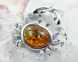 Baltic Amber Crab  Pendant  ,direct from Poland AM1499