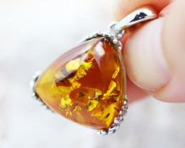 Baltic Amber Tri Pendant  ,direct from Poland AM1502