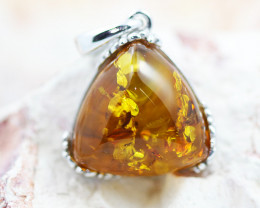 Baltic Amber Tri Pendant  ,direct from Poland AM1503