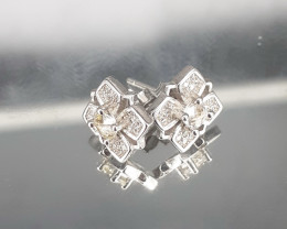 Natural White Sapphire Earrings in  925 Silver Set by DANI Jewellery