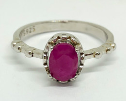 10.50 Crt Natural Ruby 925 Silver Ring