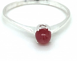 Pink Sapphire .34ct Platinum Finish Solid 925 Sterling Silver Solitaire Rin