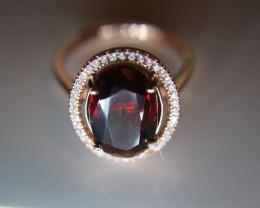 Spessartine Garnet 6.30ct Rose Gold Finish Solid 925 Sterling Silver Halo R