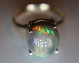 Opal 7.80ct Rhodium Finish Solid 925 Sterling Silver Ring Size 9.5