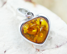 Baltic Amber Lovers heart  Pendant  ,direct from Poland AM1521
