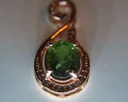 Green Apatite 1.33ct Rose Gold Finish Solid 925 Sterling Silver Pendant