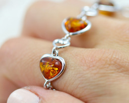 Baltic Amber Lovers heart  Bracelet  ,direct from Poland AM 1577