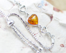 Baltic Amber Lovers heart  Bracelet  ,direct from Poland AM 1579