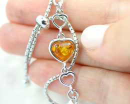 Baltic Amber Lovers heart  Bracelet  ,direct from Poland AM 1580