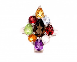 Natural Beautiful mix stone Ring With A 925 Starling Silver.