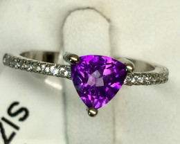 Natural Beautiful Amethyst Ring With A 925 Starling Silver.