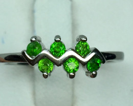 Natural Beautiful chrome diopside Ring With A 925 Starling Silver.