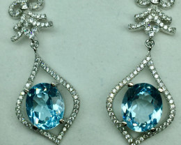 Natural Beautiful Swiss Blue Topaz Earrings With A 925 Starling Silver.